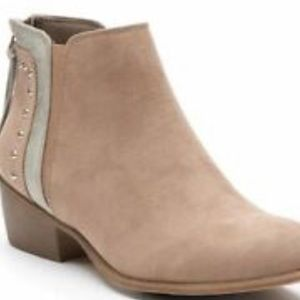 Candies Tan Micro Suede Silver Layered Booties